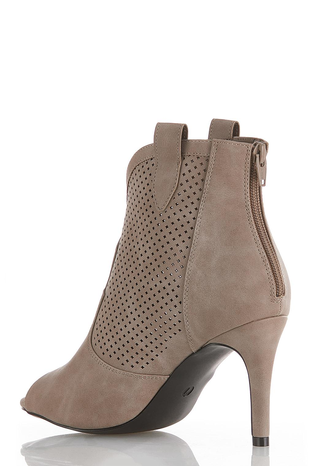 Perforated Open Toe Ankle Boots (Item #44524746)