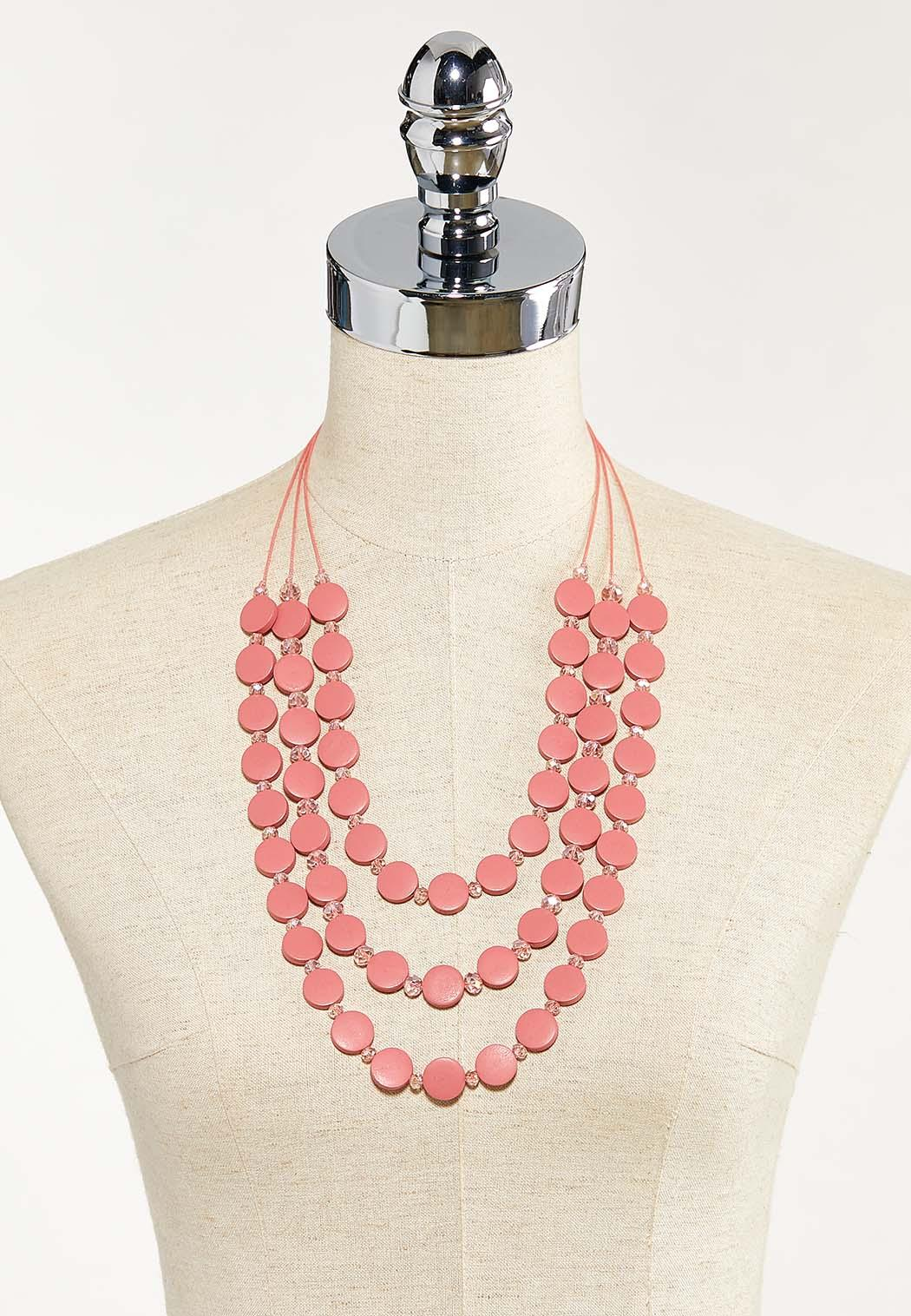 Dusty Rose Wood Disc Necklace (Item #44524769)