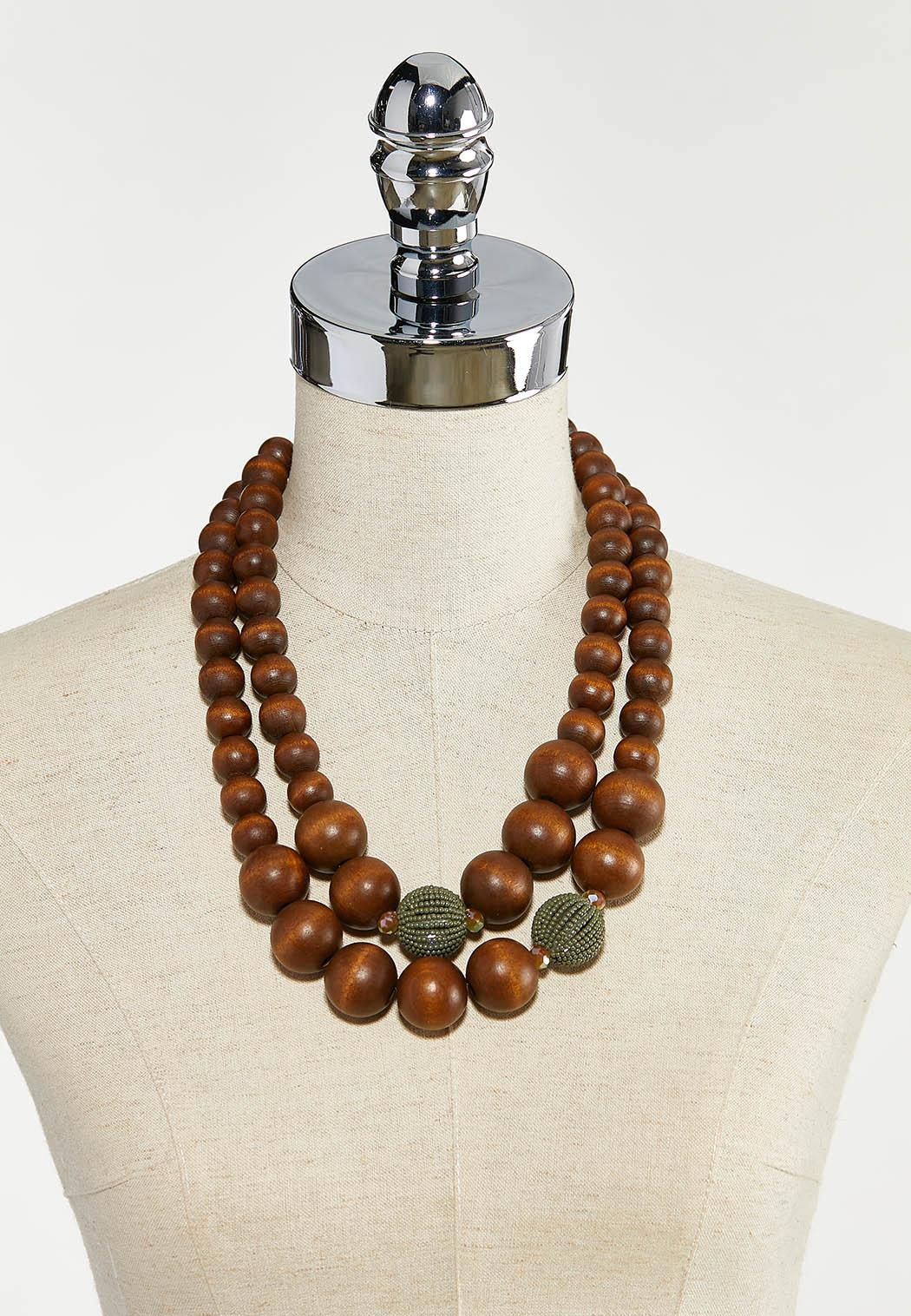 Green Accent Wood Ball Necklace (Item #44524775)
