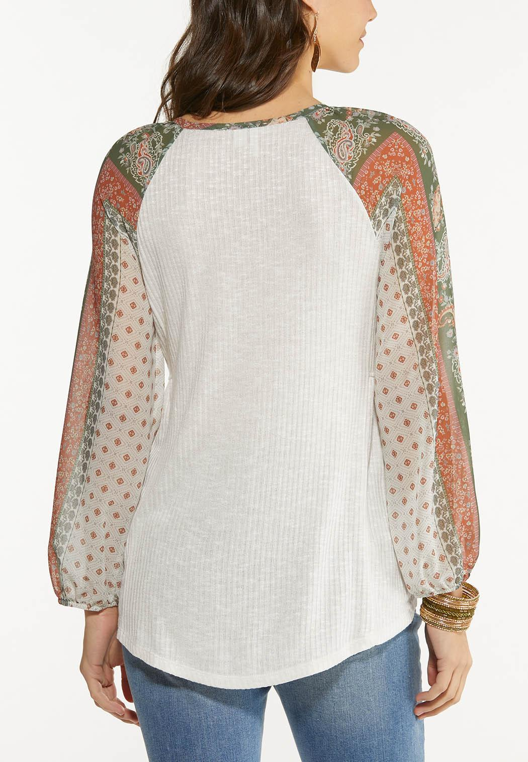 Plus Size Sheer Patchwork Sleeve Top (Item #44524795)