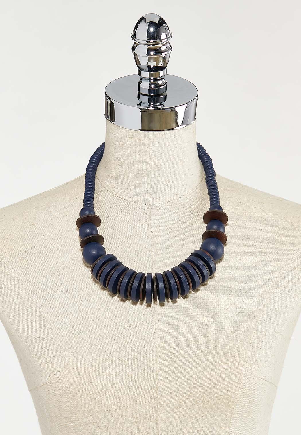 Navy Wood Necklace (Item #44524813)