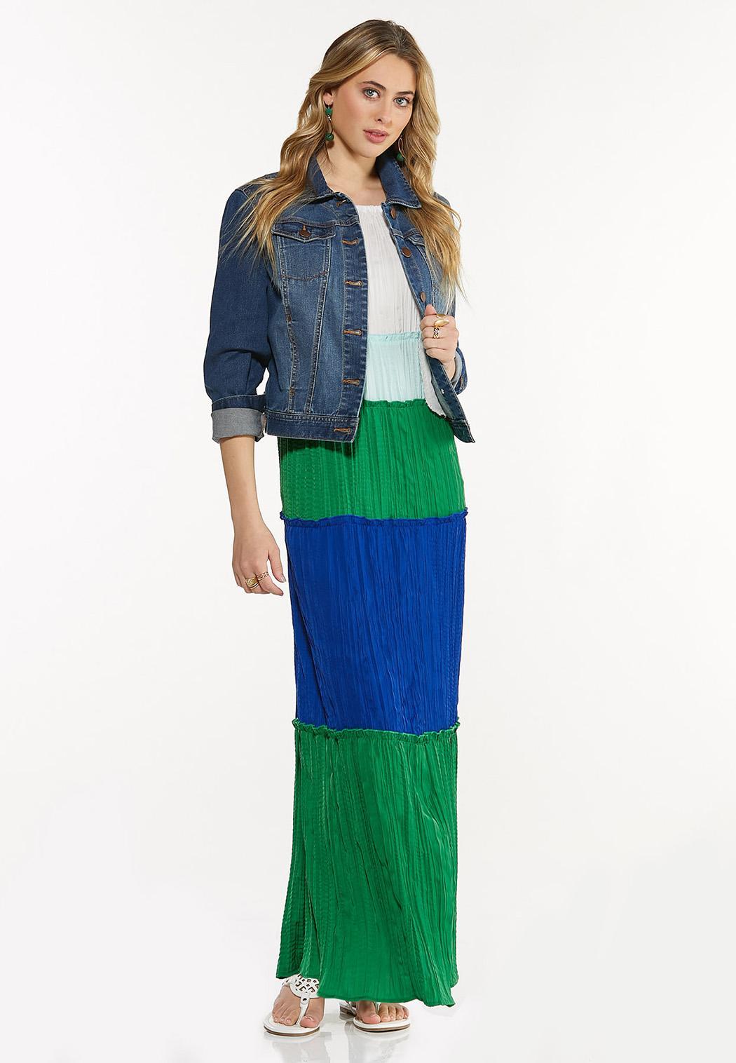 Pleated Colorblock Maxi Dress (Item #44524958)