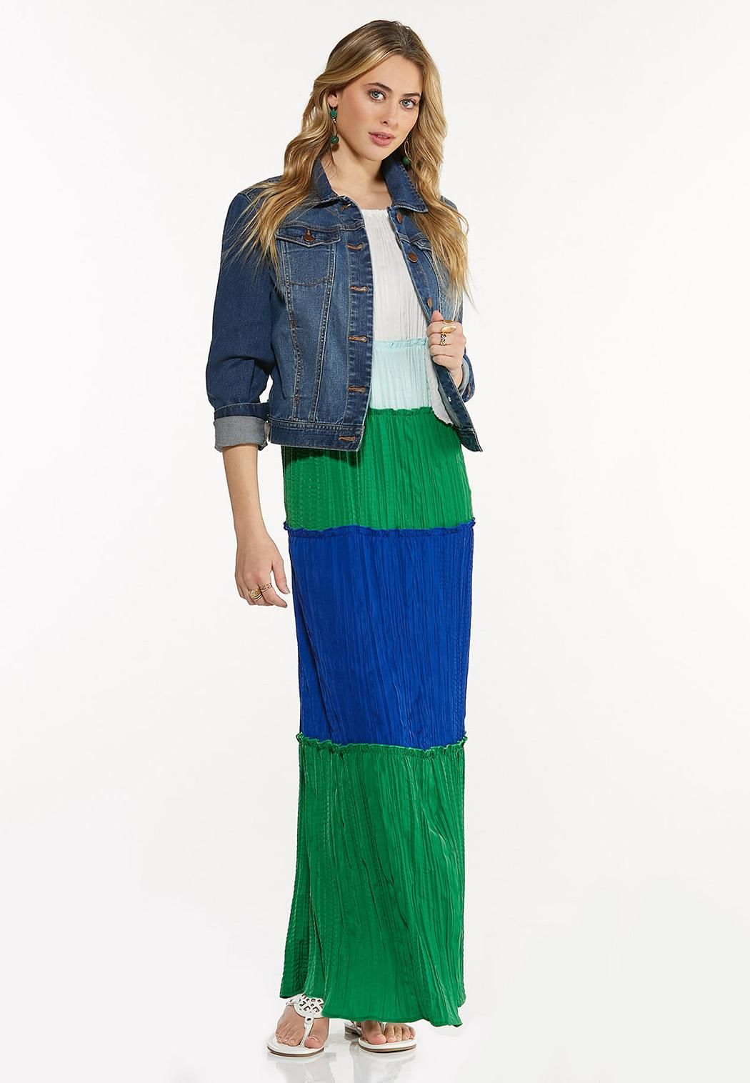 Plus Petite Pleated Colorblock Maxi Dress (Item #44525028)