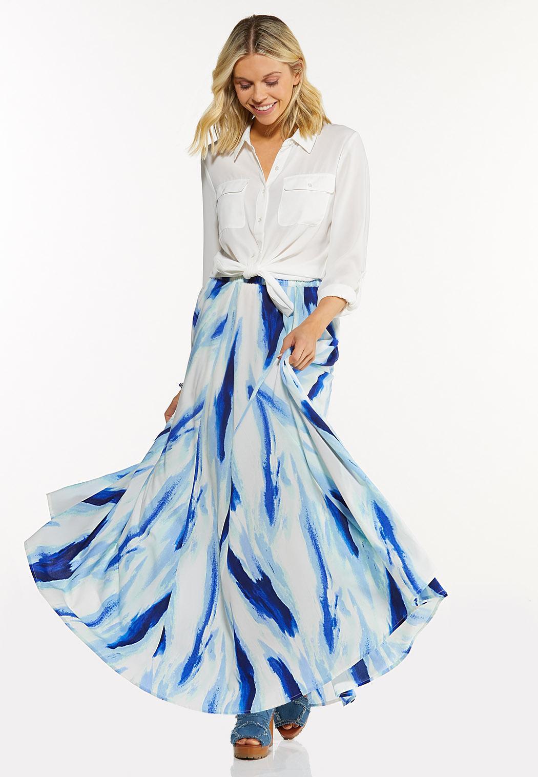 Plus Size Tie Dye Maxi Skirt (Item #44525433)