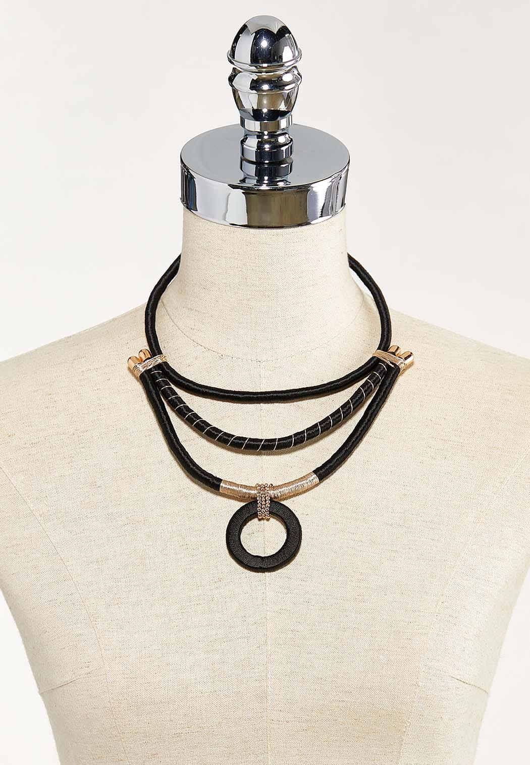 Layered Thread Wrapped Pendant Necklace (Item #44525628)