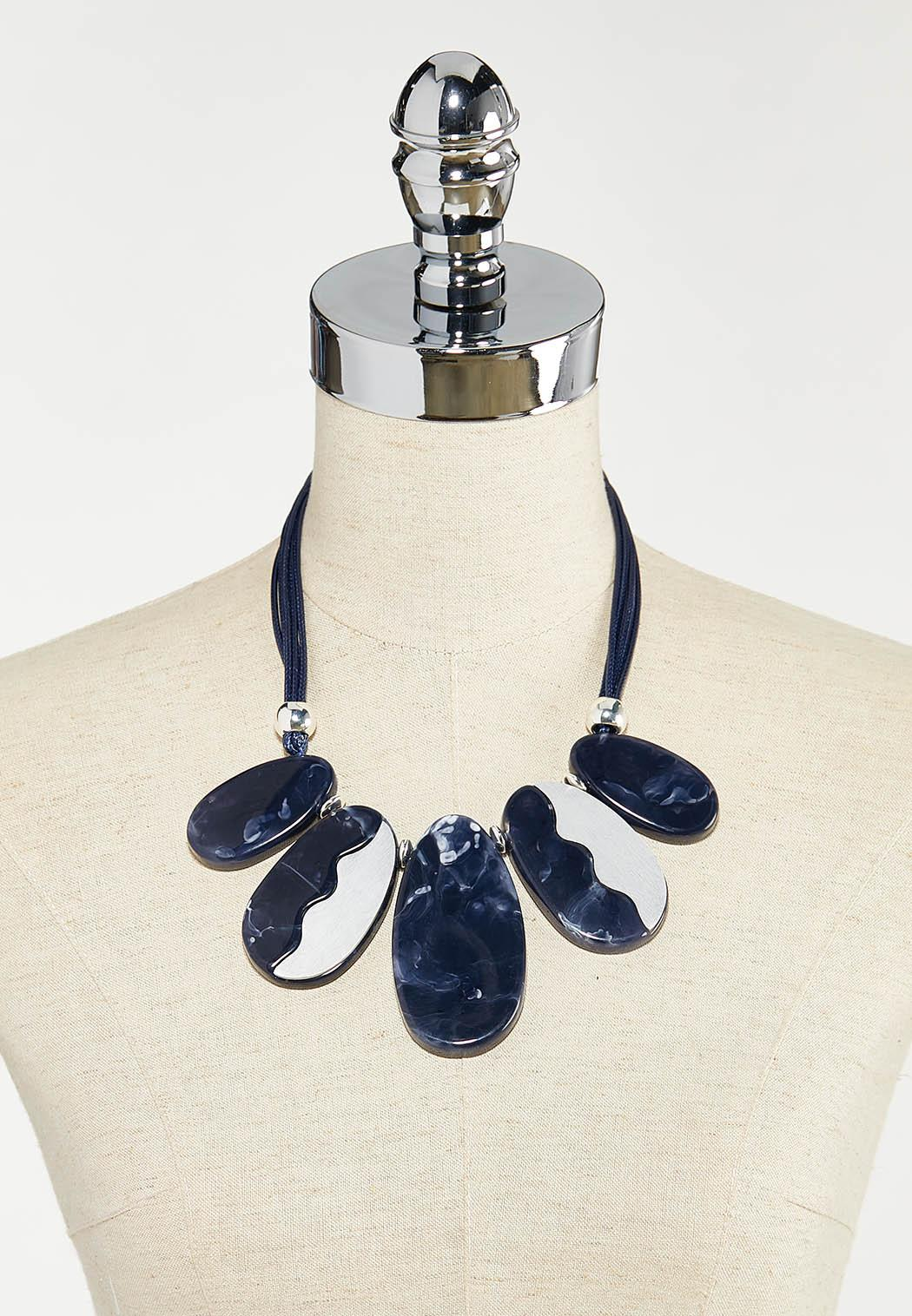 Navy Resin Cord Necklace (Item #44526065)