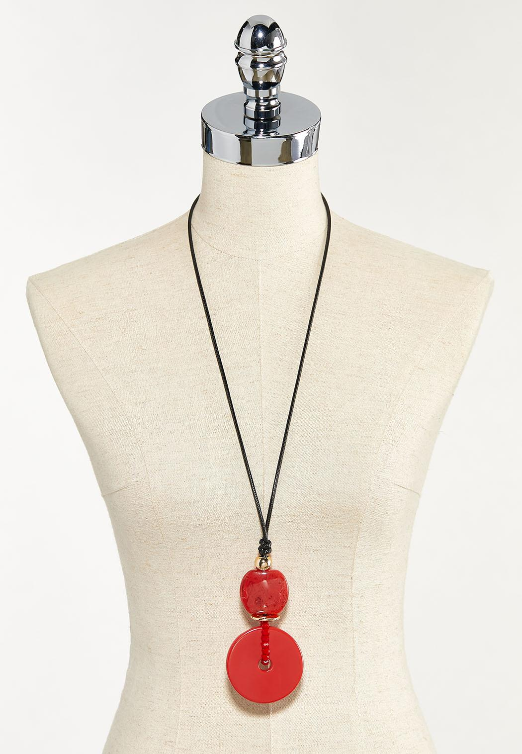 Red Pendant Cord Necklace (Item #44526078)