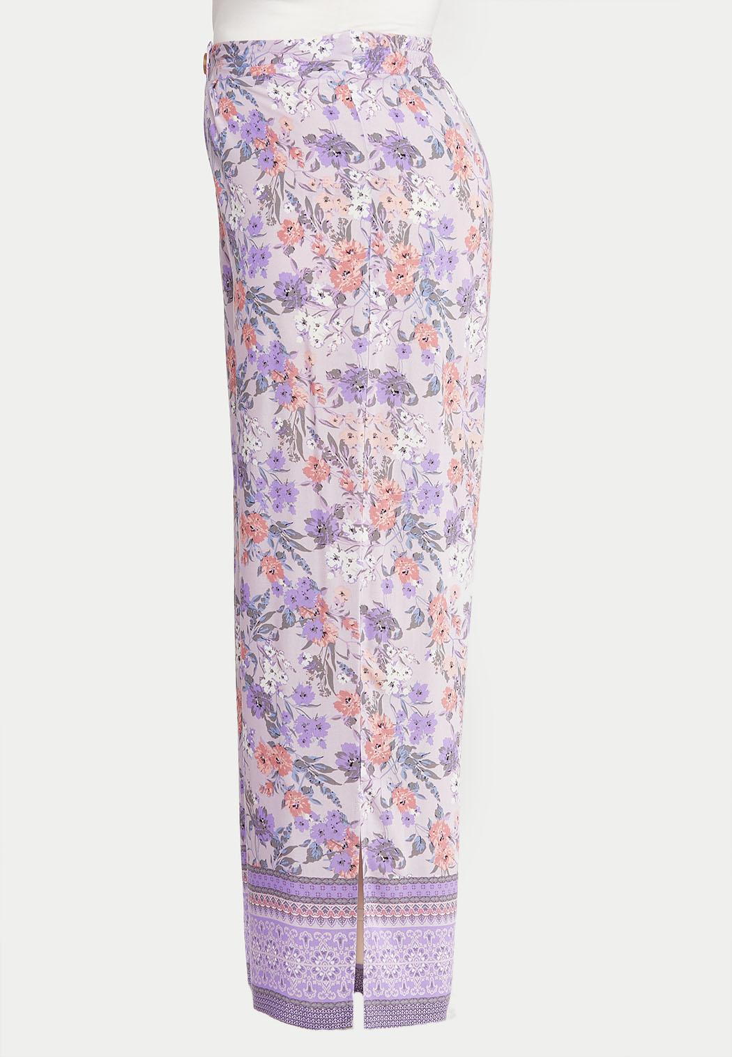 Plus Size Lavender Floral Palazzo Pants (Item #44526351)