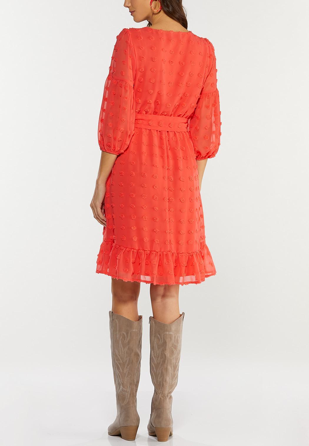 Textured Dot Tie Waist Dress (Item #44527050)