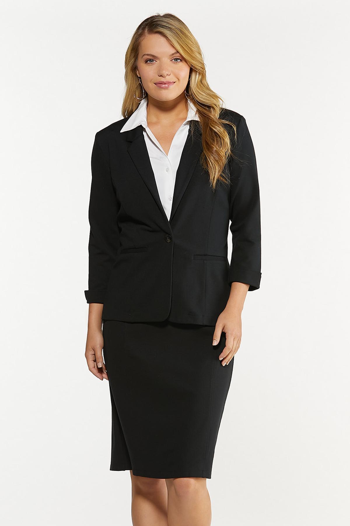 Plus Size Ponte Pencil Skirt (Item #44527379)