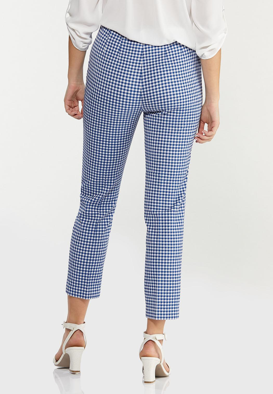 Blue Gingham Ankle Pants (Item #44527597)