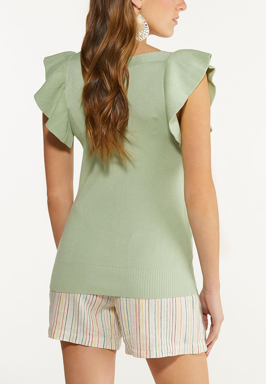 Green Ruffled Sleeve Sweater (Item #44527636)