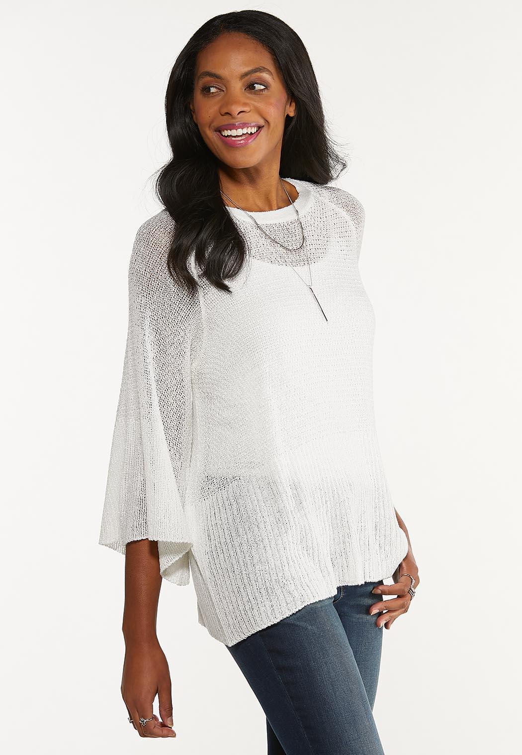 Plus Size Ivory Tie Back Sweater (Item #44527760)
