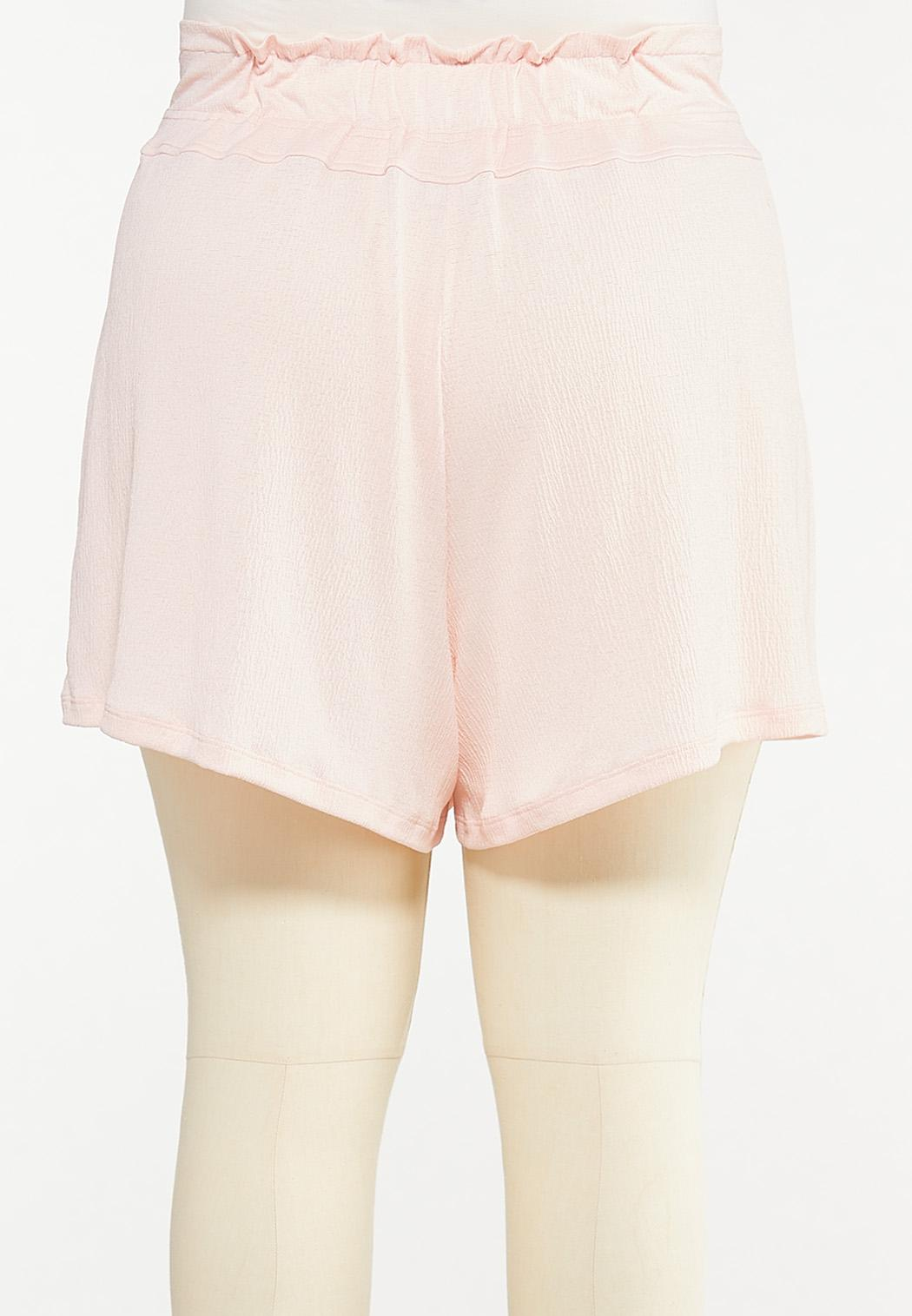 Plus Size Button Front Gauze Shorts (Item #44527882)