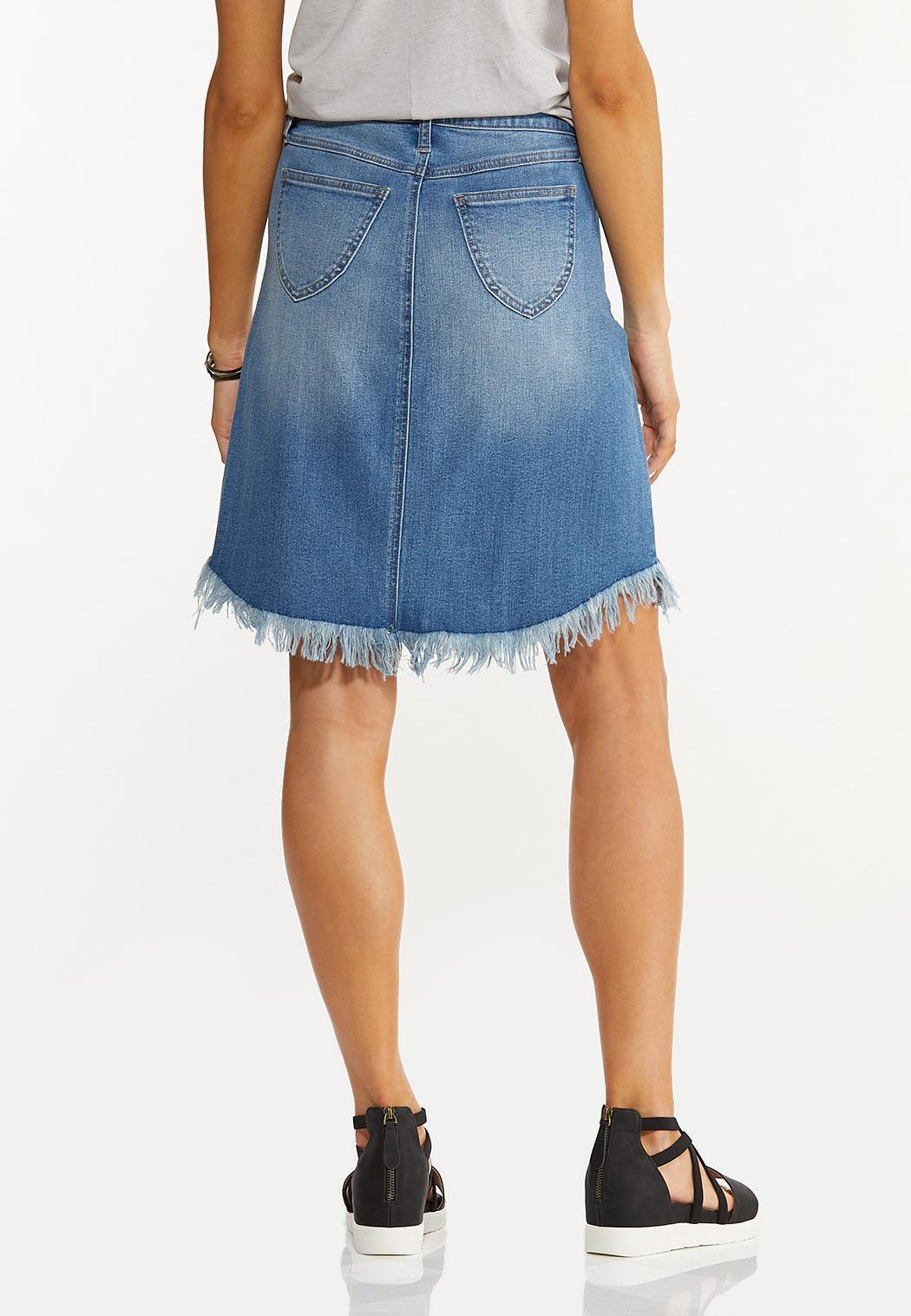 Frayed Denim Skirt (Item #44528095)