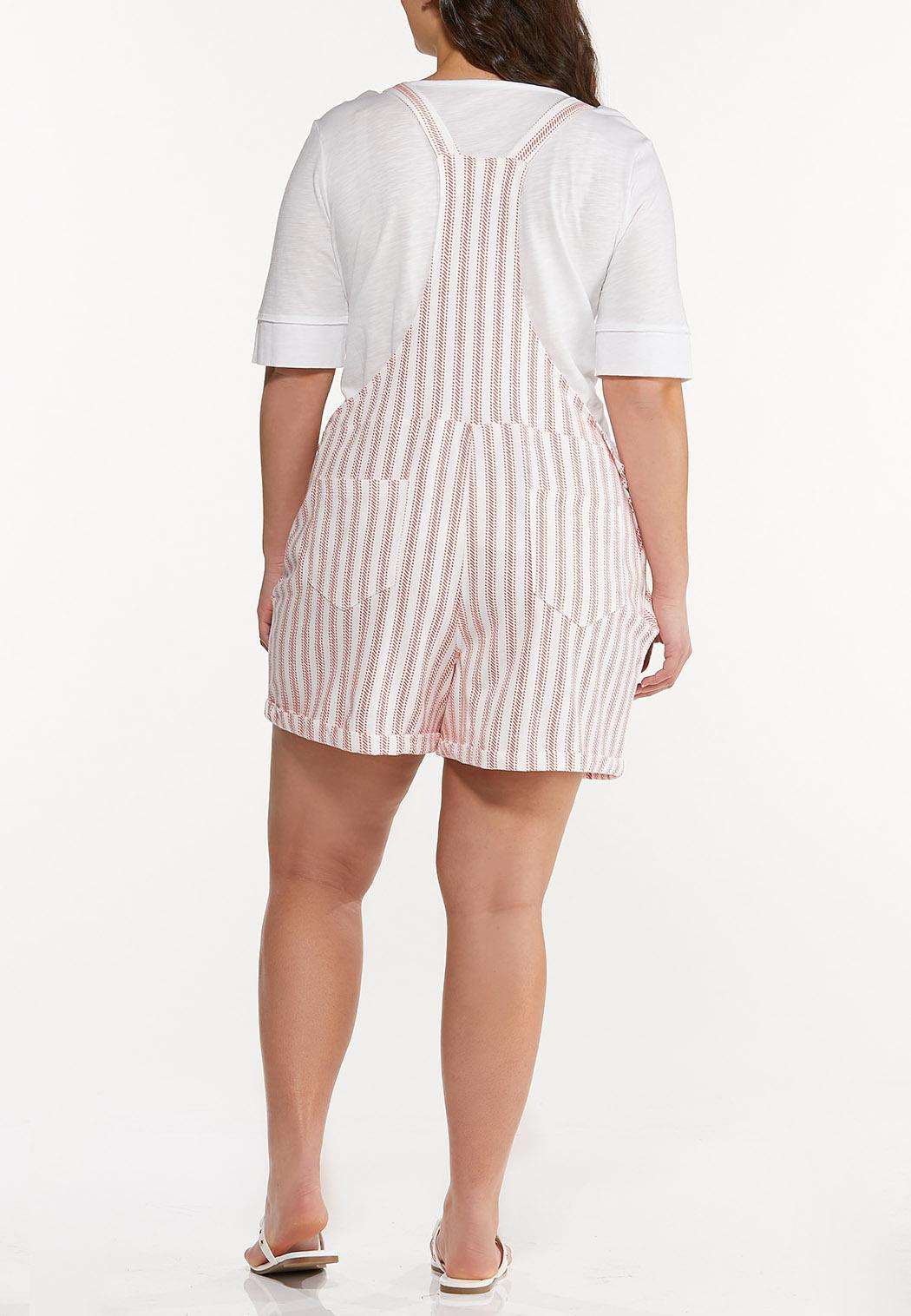 Plus Size Dashing Stripe Overall Shorts (Item #44528149)