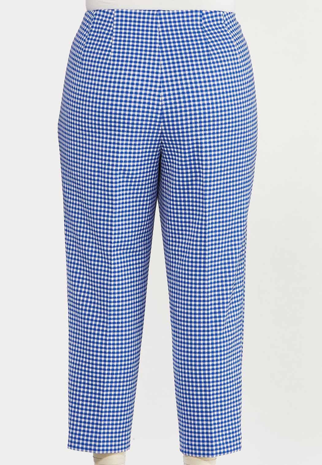 Plus Size Blue Gingham Ankle Pants (Item #44528288)
