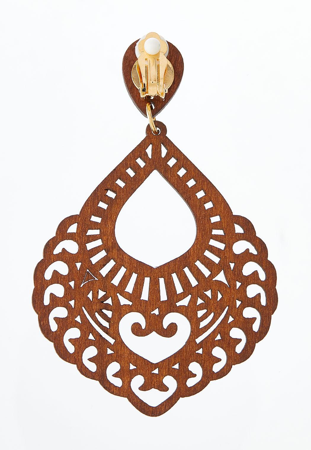 Cutout Wood Clip-On Earrings (Item #44528326)