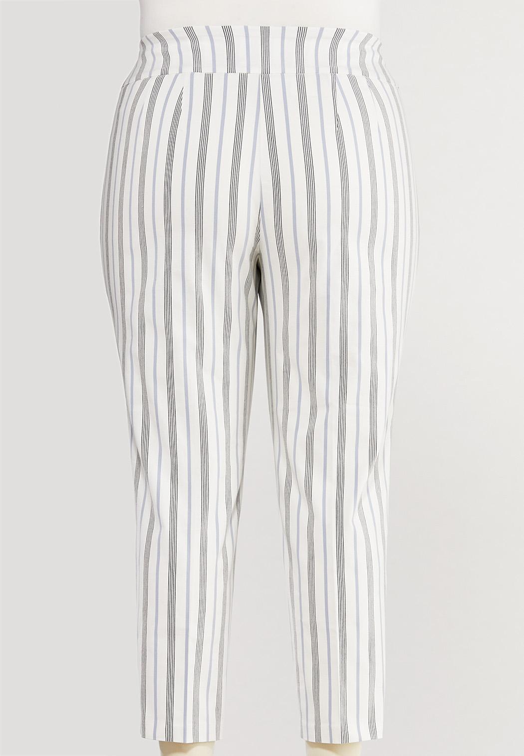 Plus Size Striped Bengaline Ankle Pants (Item #44528342)