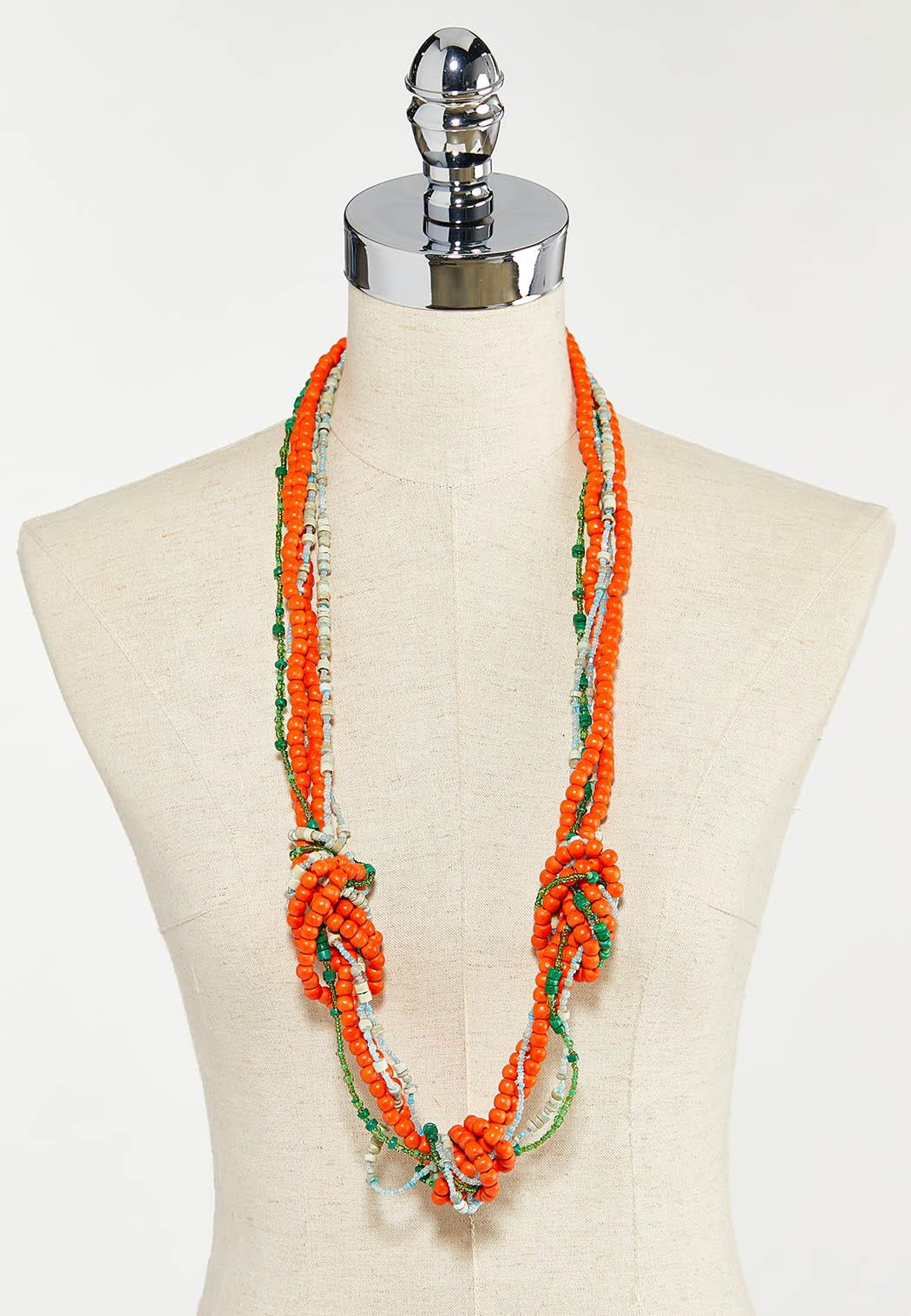 Knotted Multi Wood Bead Necklace (Item #44528505)