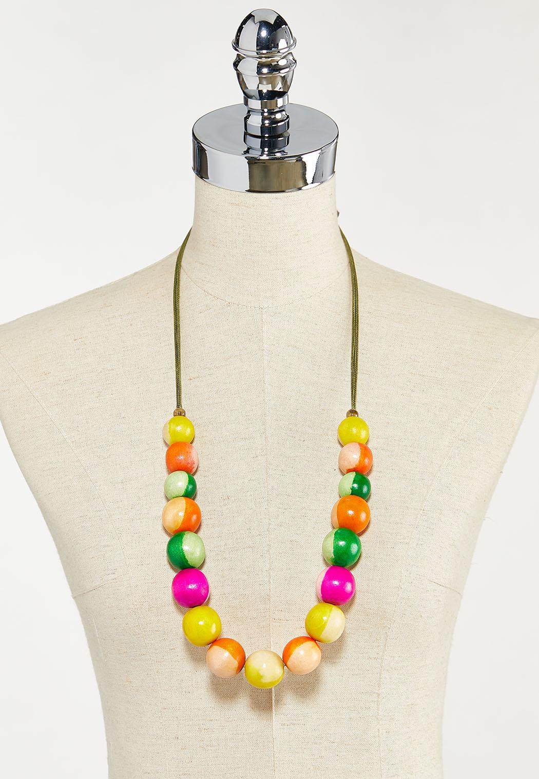 Cheerful Wood Bead Cord Necklace (Item #44528519)