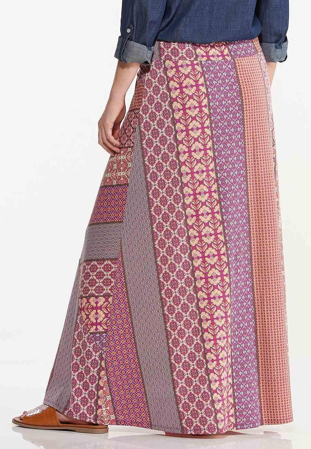 Patchwork Stripe Maxi Skirt (Item #44529291)