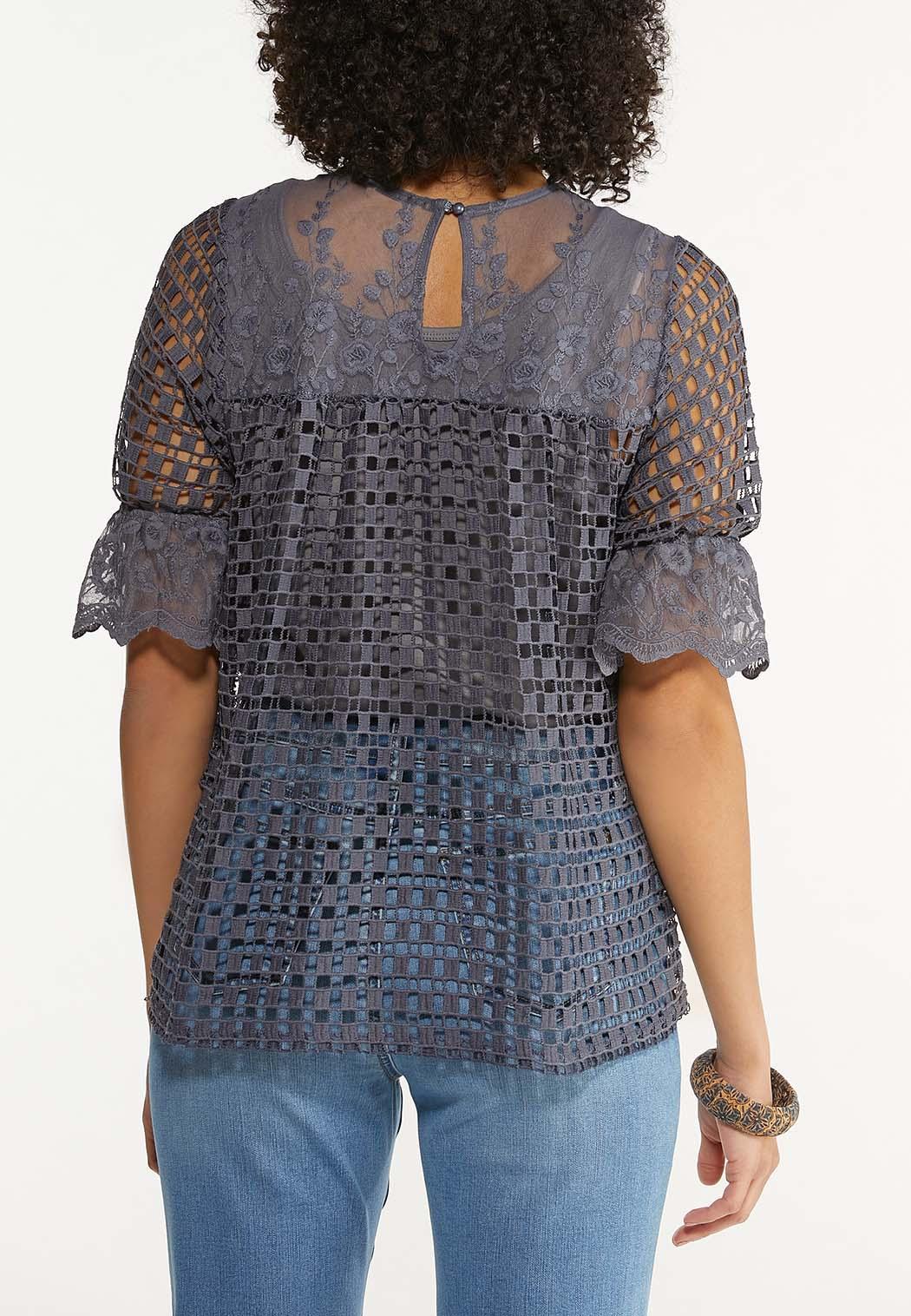 Plus Size Gray Crochet Mesh Top (Item #44529308)