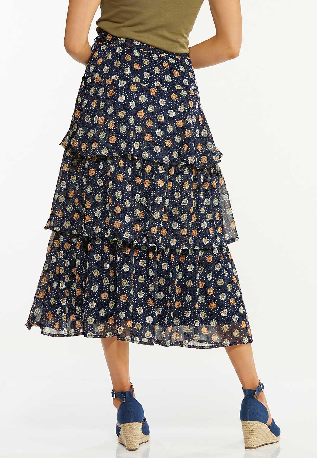 Ruffled Floral Midi Skirt (Item #44529354)
