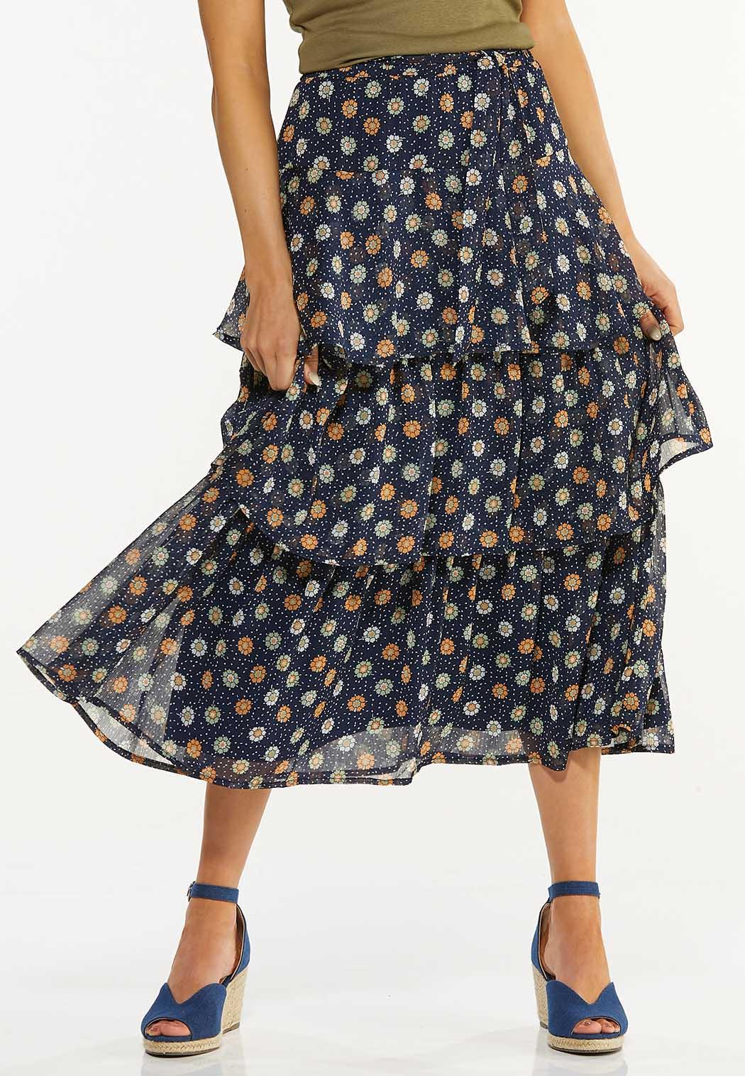 Plus Size Ruffled Floral Midi Skirt (Item #44529438)