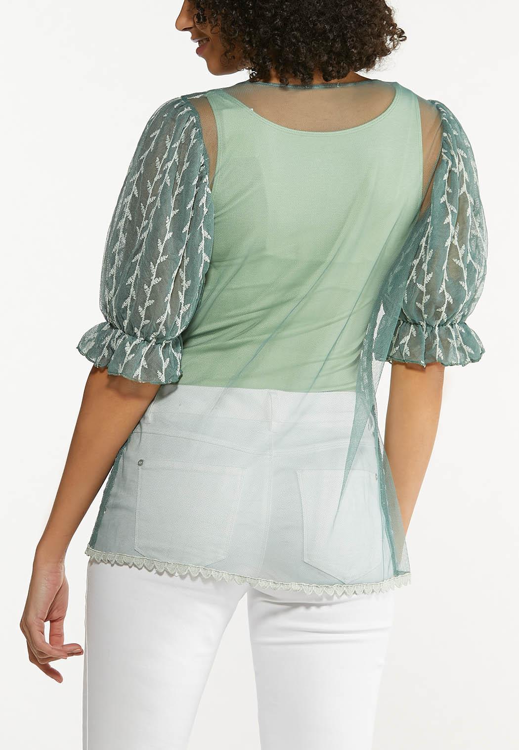 Plus Size Green Mesh Puff Sleeve Top (Item #44529458)
