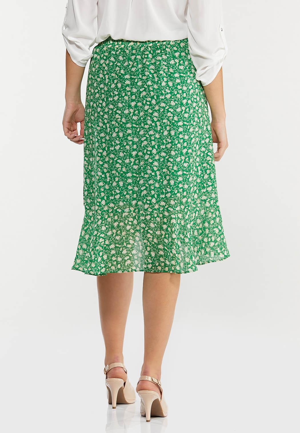 Plus Size Green Floral Faux Wrap Skirt (Item #44529582)