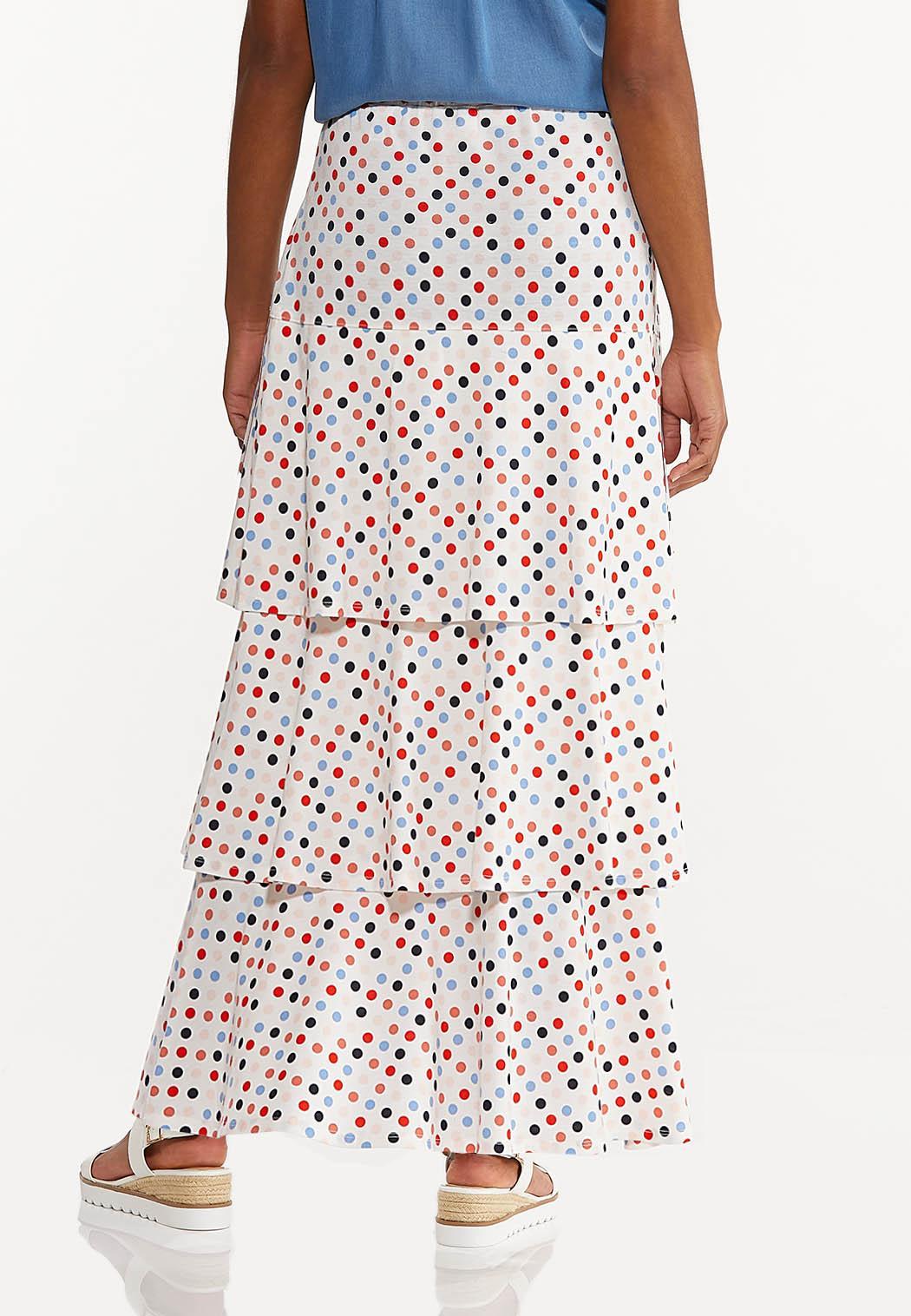 Plus Size Tiered Polka Dot Skirt (Item #44529586)