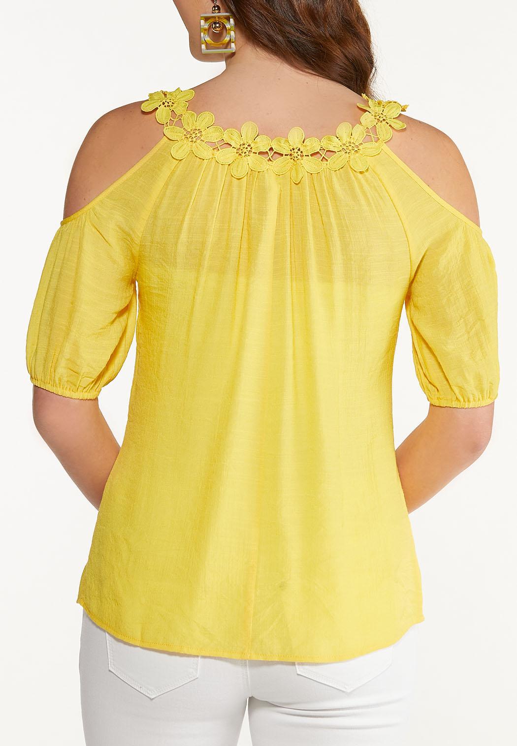 Floral Lace Cold Shoulder Top (Item #44530351)