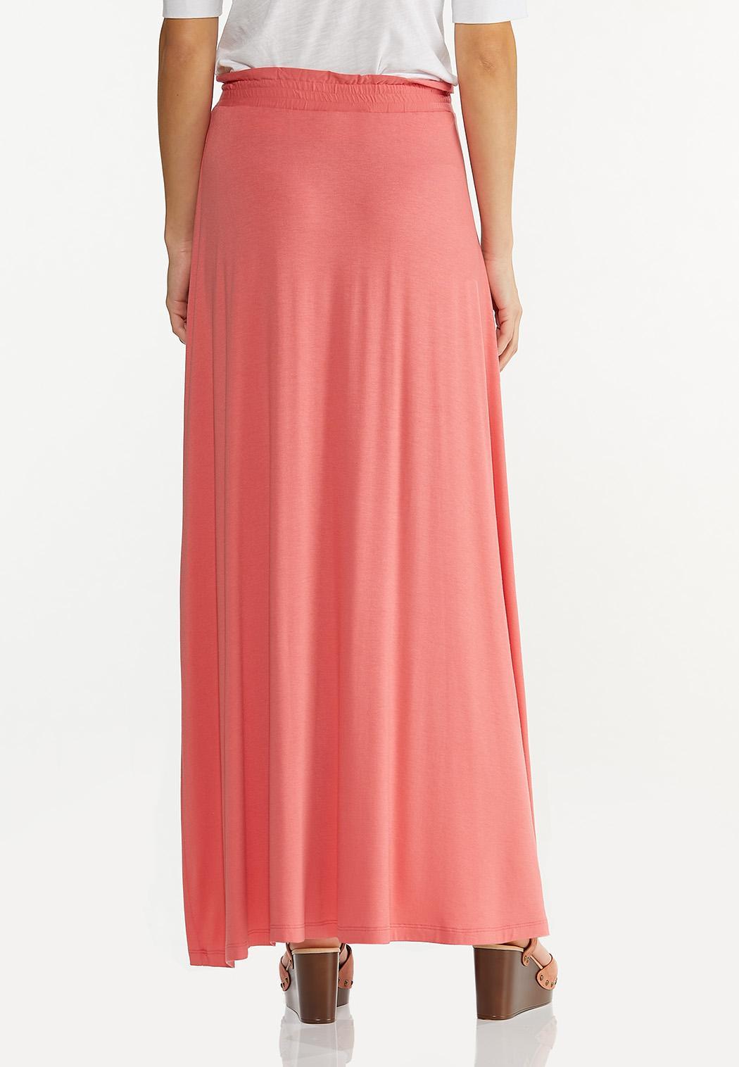 Plus Size Tie Waist Maxi Skirt (Item #44530464)
