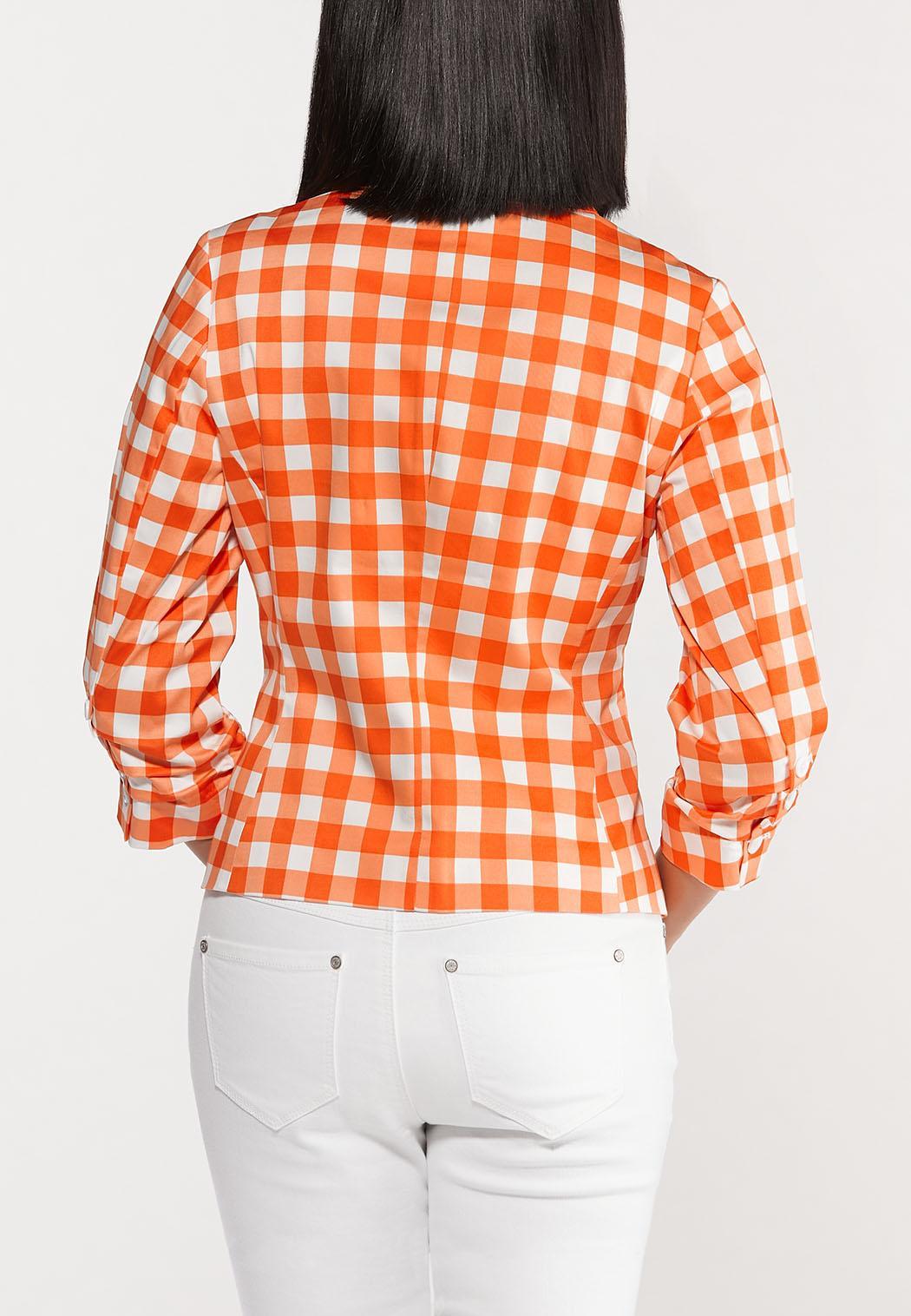 Plus Size Orange Gingham Sateen Blazer (Item #44530565)