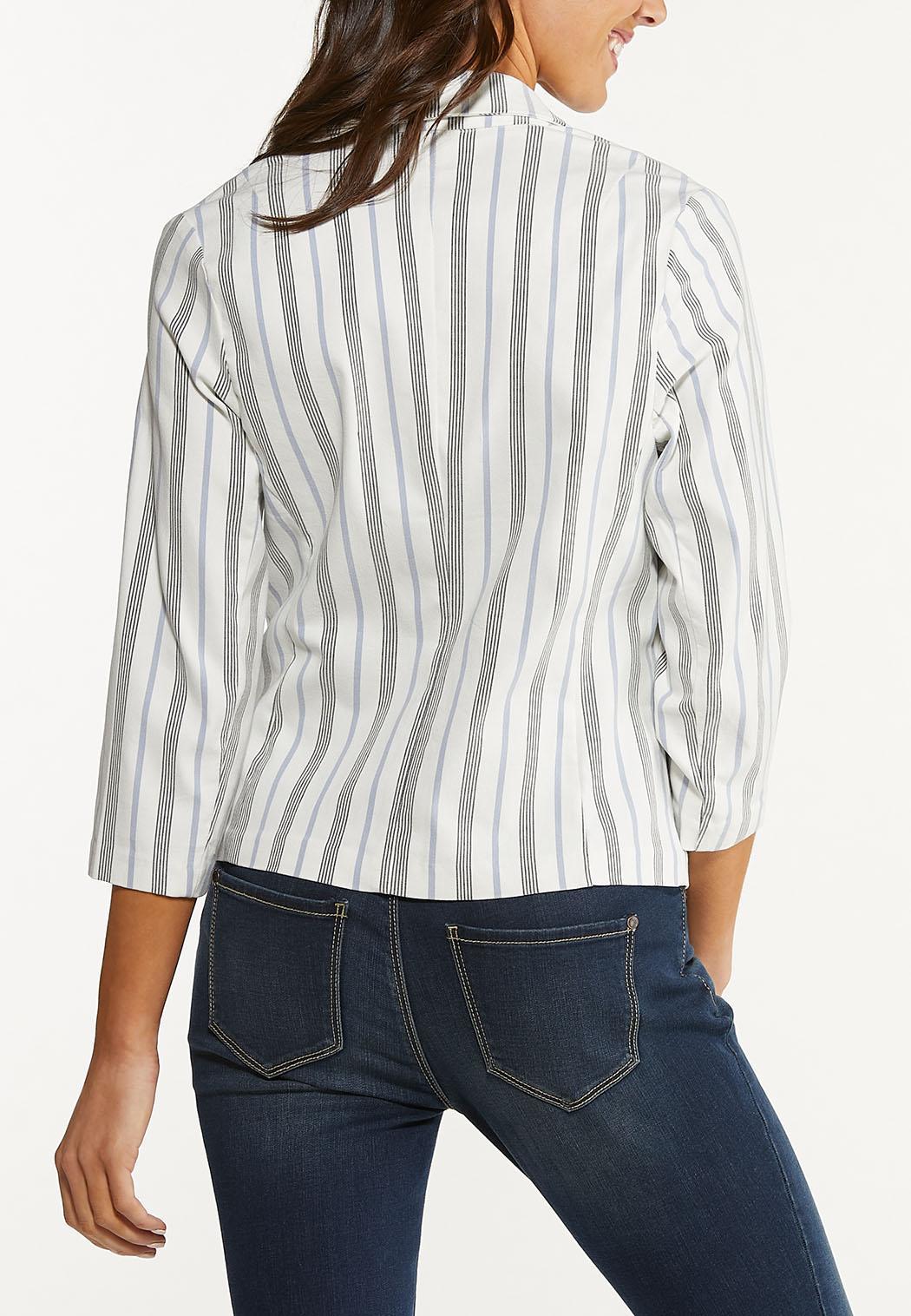 Plus Size Striped Bengaline Blazer (Item #44530750)