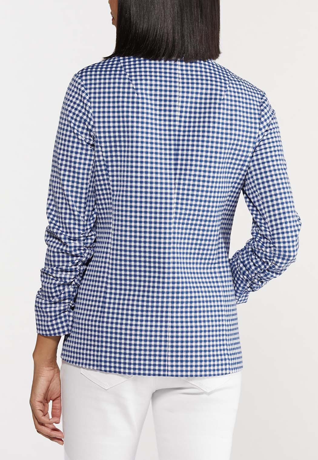 Plus Size Blue Gingham Blazer (Item #44530803)
