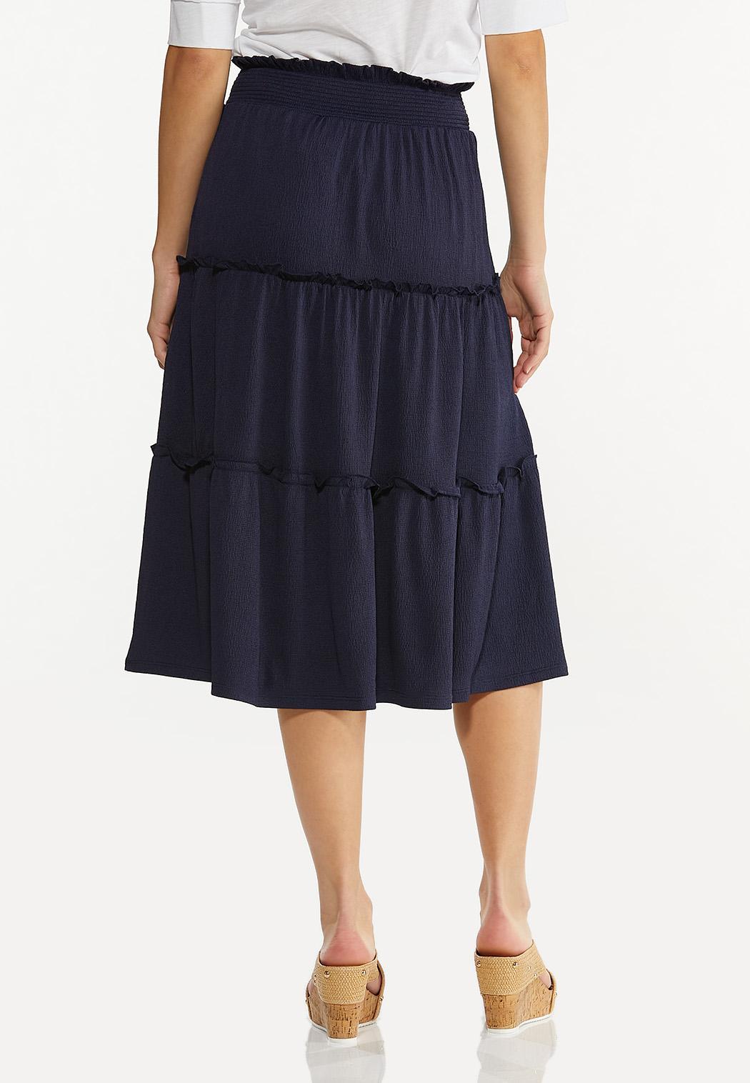 Plus Size Textured Midi Skirt (Item #44530820)