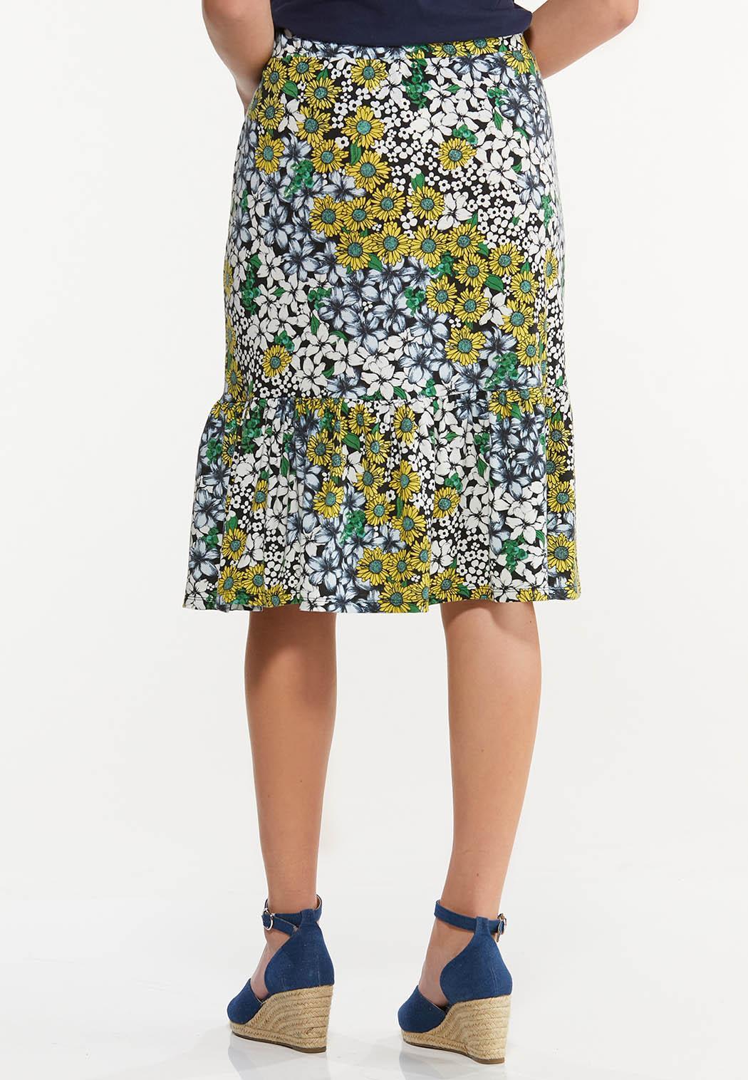 Plus Size Sunflower Fields Midi Skirt (Item #44530839)