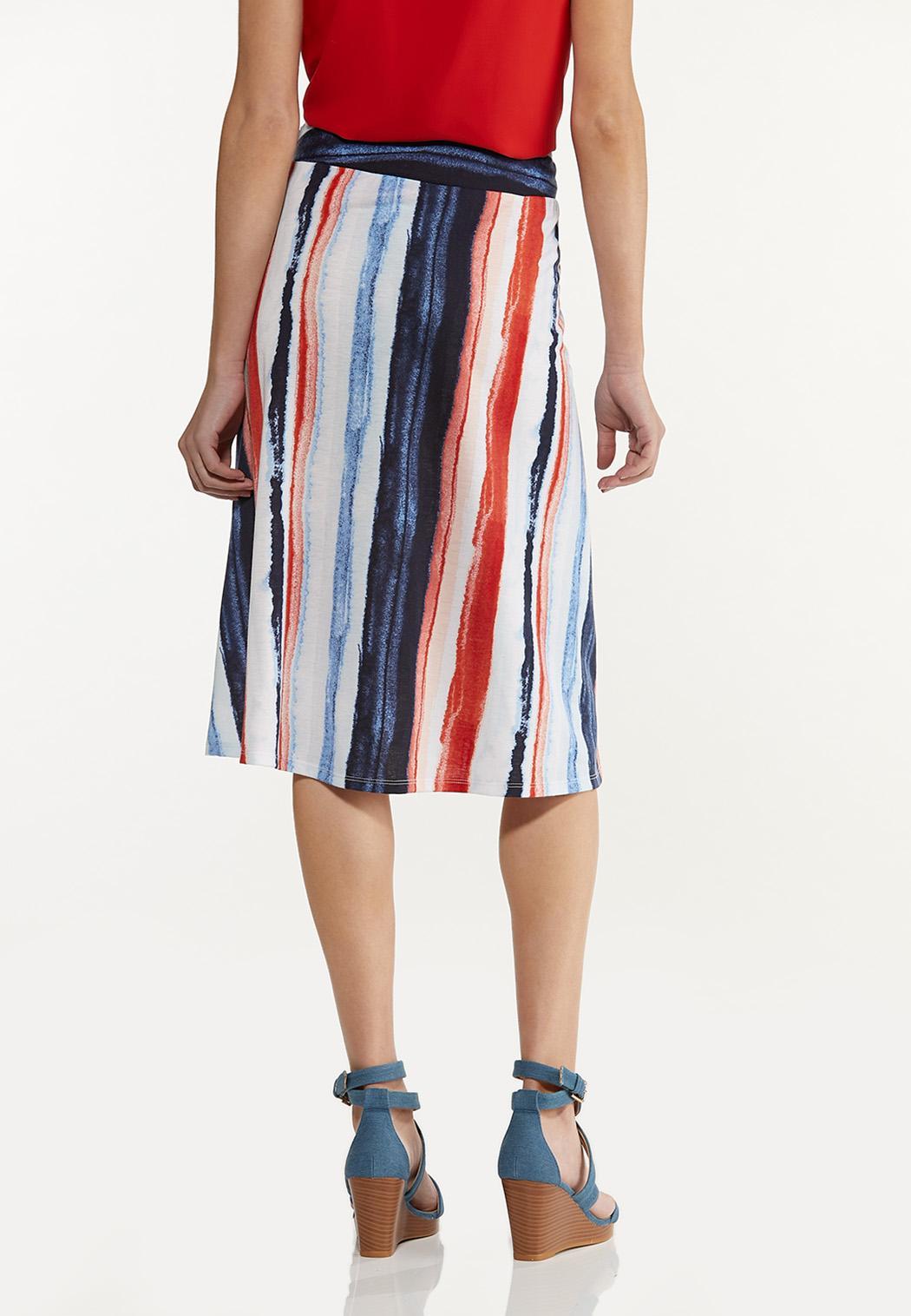 Plus Size Watercolor Stripe Skirt (Item #44530912)