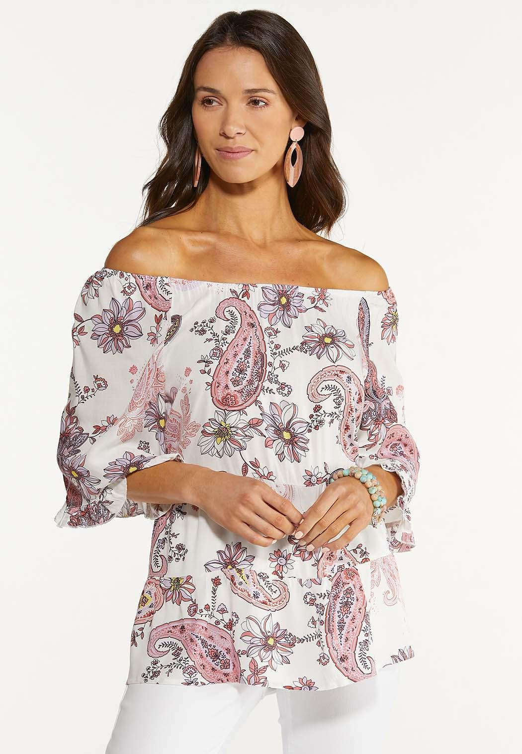 Plus Size Tiered Pink Paisley Top (Item #44531360)