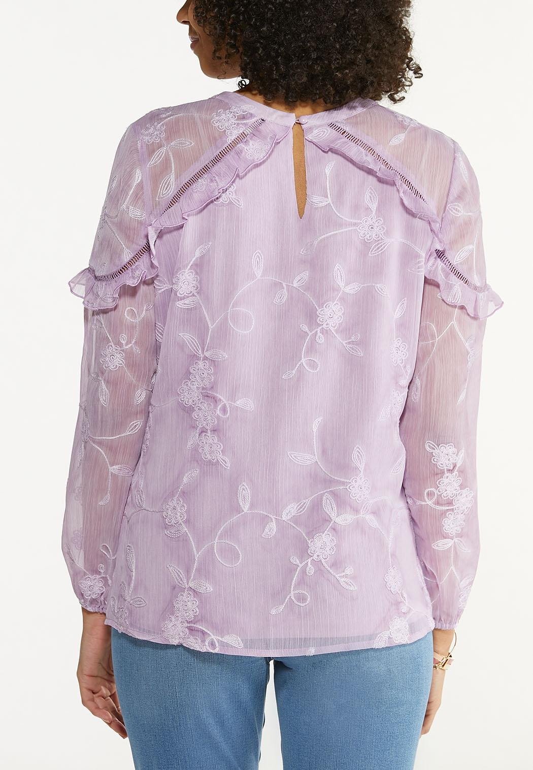 Ruffled Embroidered Top (Item #44531604)