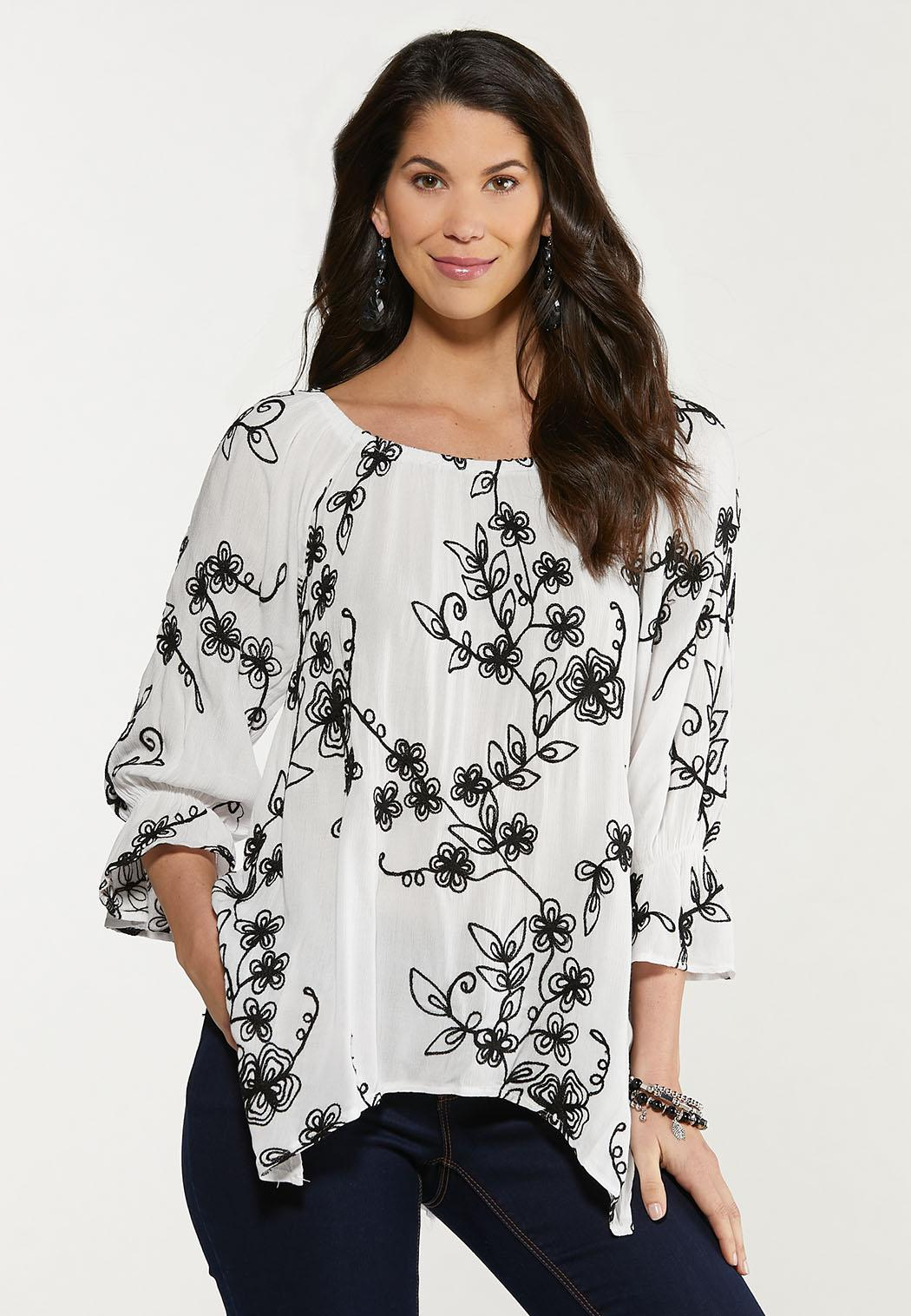Embroidered Off Shoulder Tunic (Item #44531868)