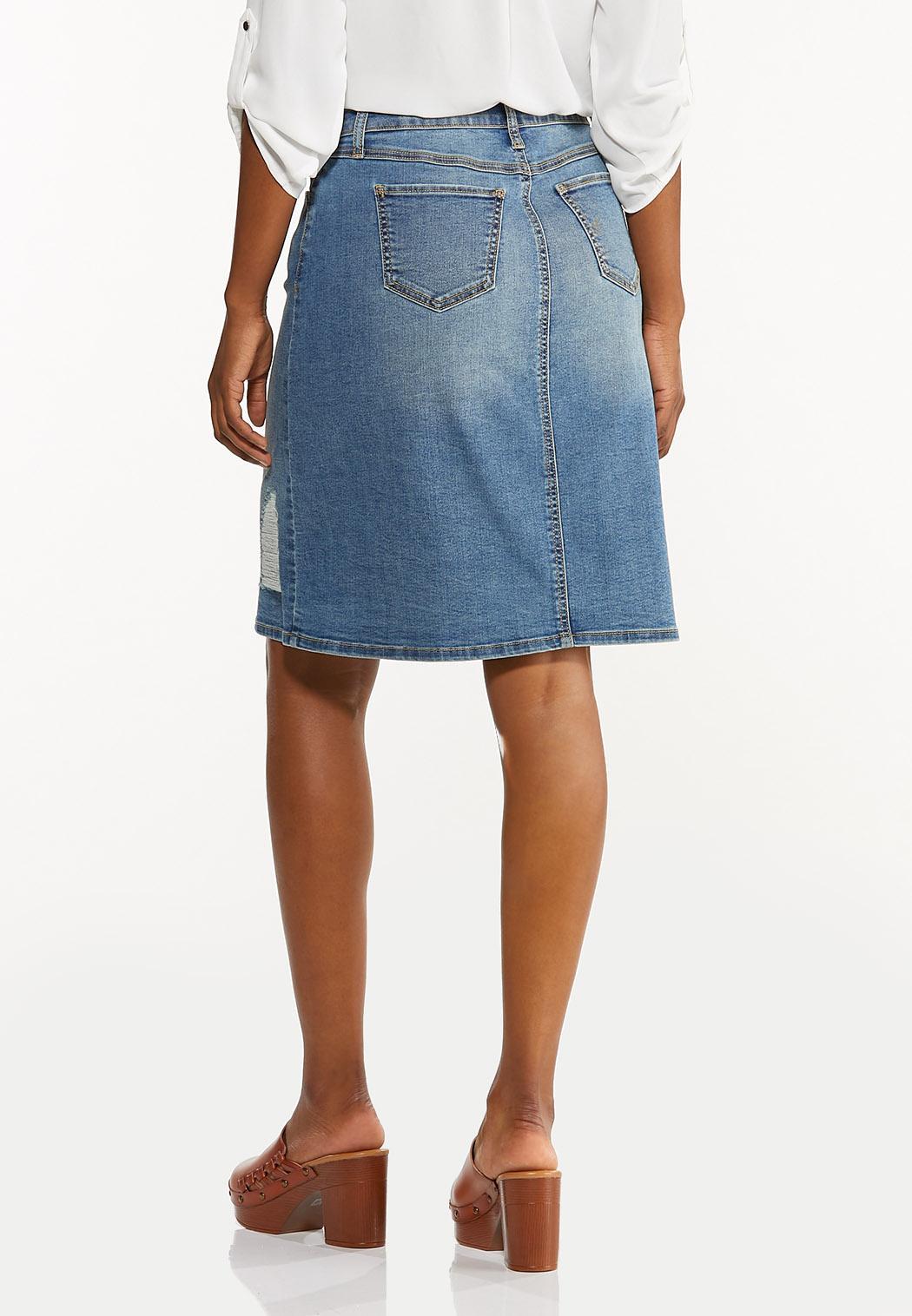 Plus Size Destructed Denim Skirt (Item #44532906)