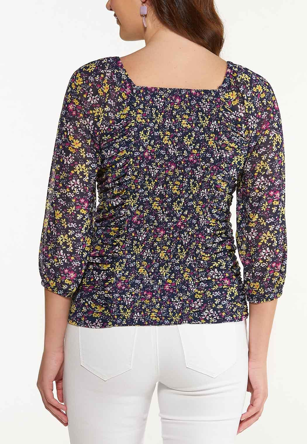Floral Ruched Mesh Top (Item #44533228)