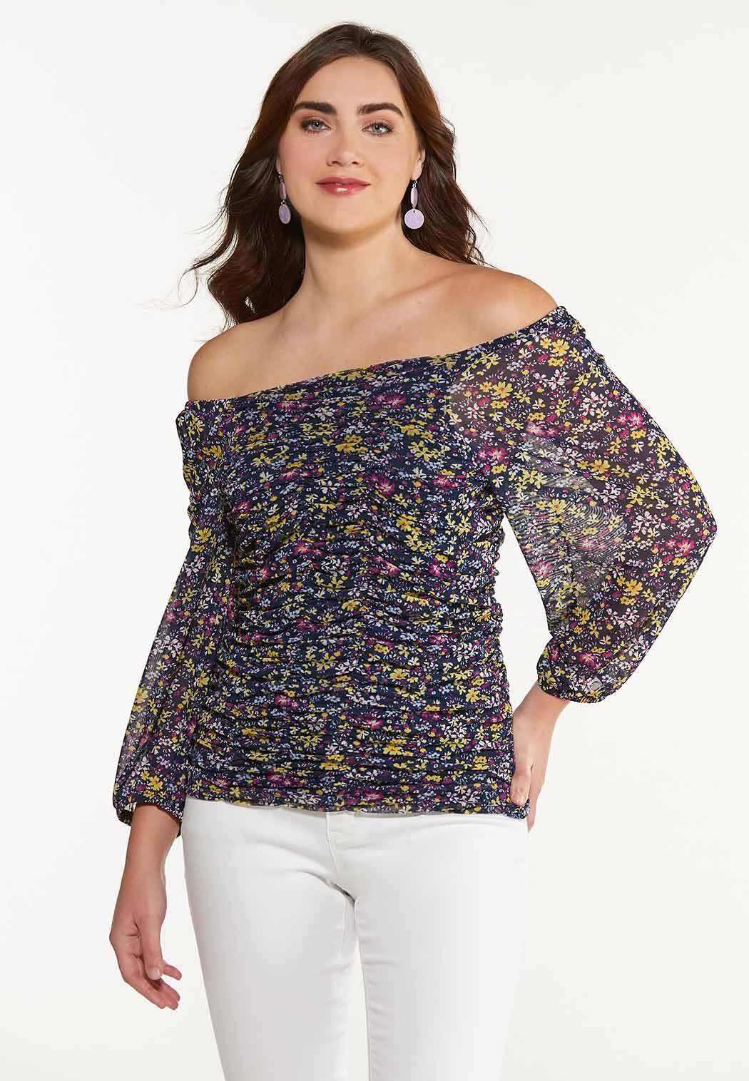 Plus Size Floral Ruched Mesh Top (Item #44533530)