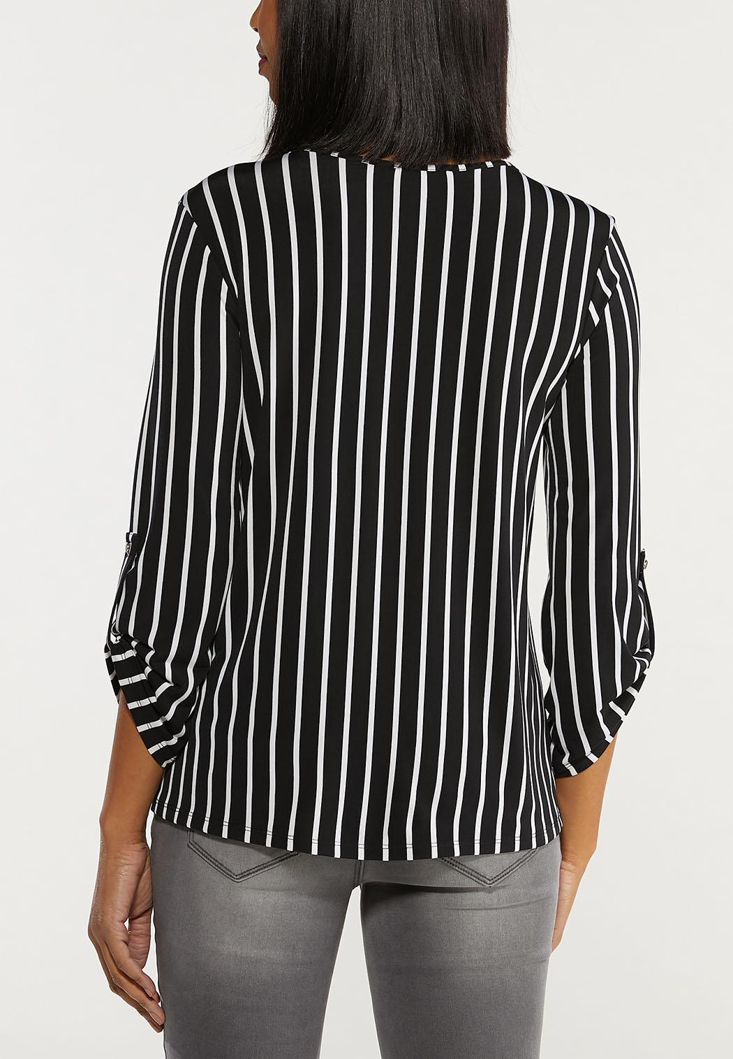 Plus Size Twisted Stripe Top (Item #44533548)