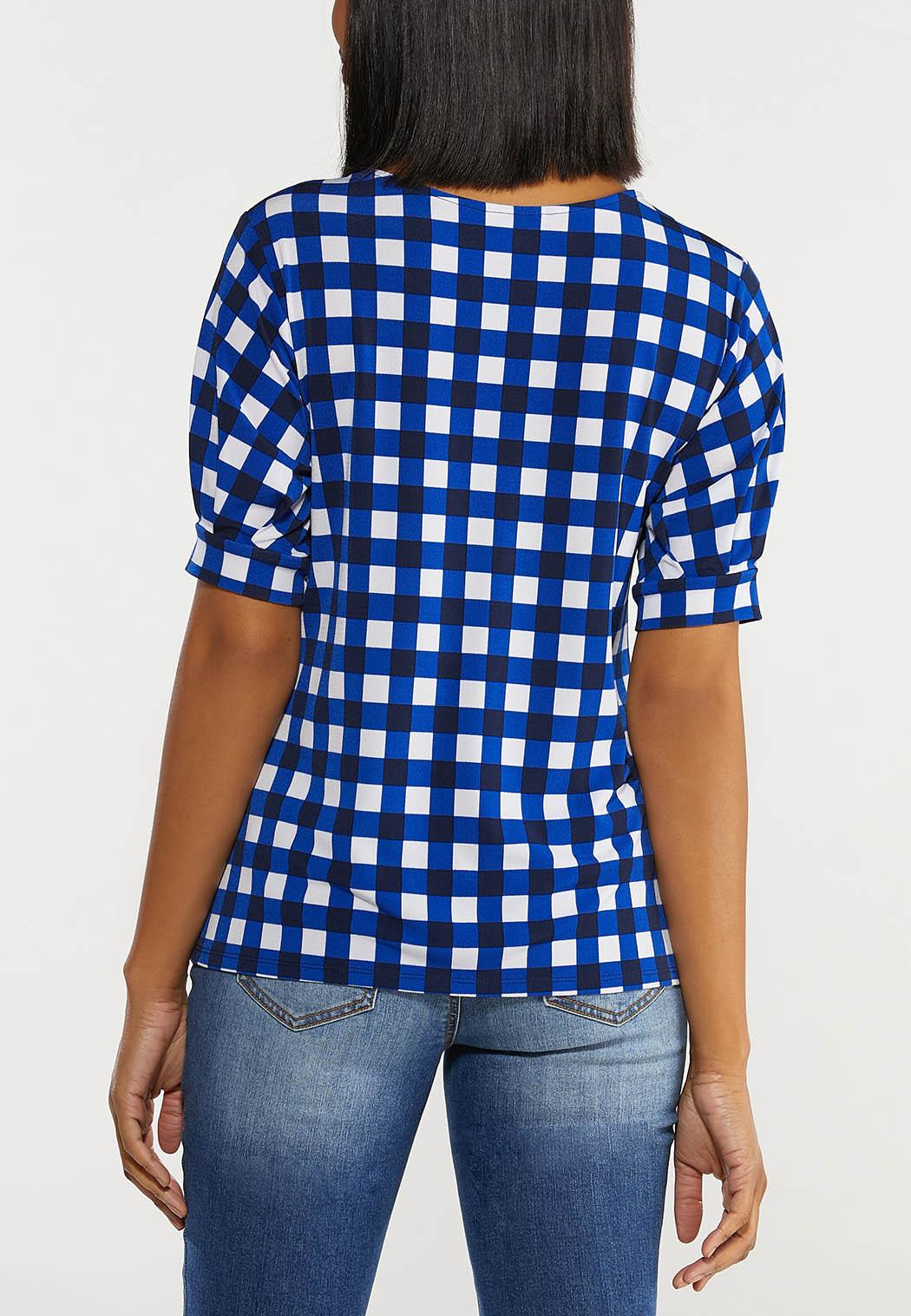 Plus Size Blue Checkered Top (Item #44533750)
