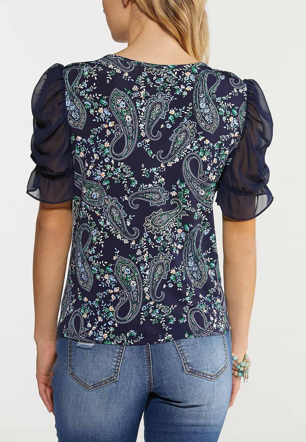 Paisley Sheer Sleeve Top (Item #44533787)