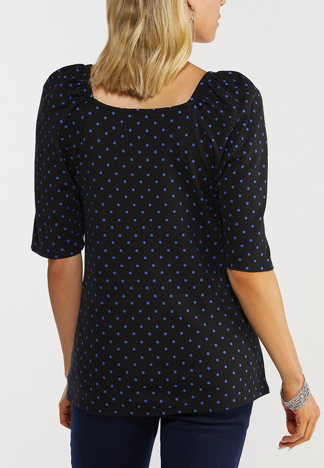 Plus Size Dotted Elbow Sleeve Top (Item #44533836)